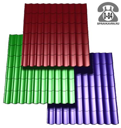 Металлочерепица Монтеррей коричнево-красный 0.4x25x1190мм