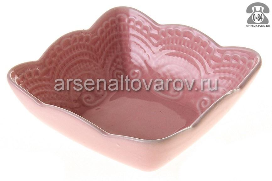 салатник фарфоровый 250 мл (ST-035Р) Кружево розовое (Коралл) 957837