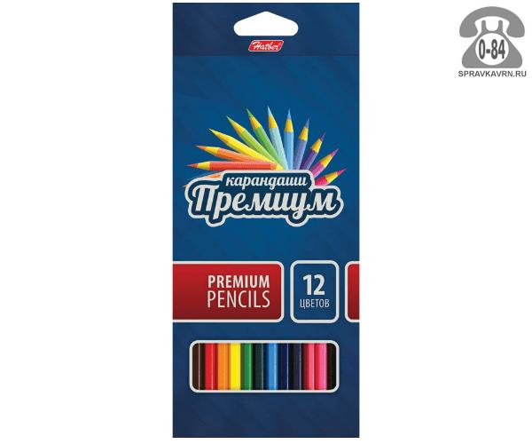 Цветные карандаши Премиум цветов 12 картонная коробка