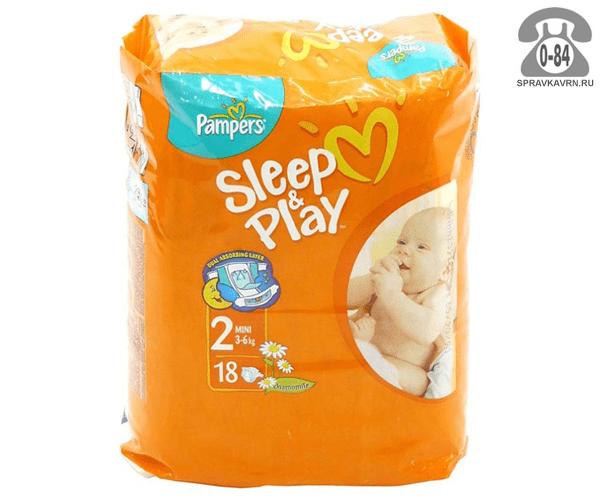 Подгузники для детей Памперс (Pampers) Sleep & Play 3-6 кг (18) 3-6, 18шт.