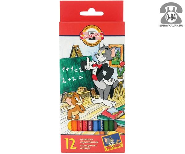 Цветные карандаши Том и Джерри (Tom and Jerry) цветов 12 картонная коробка