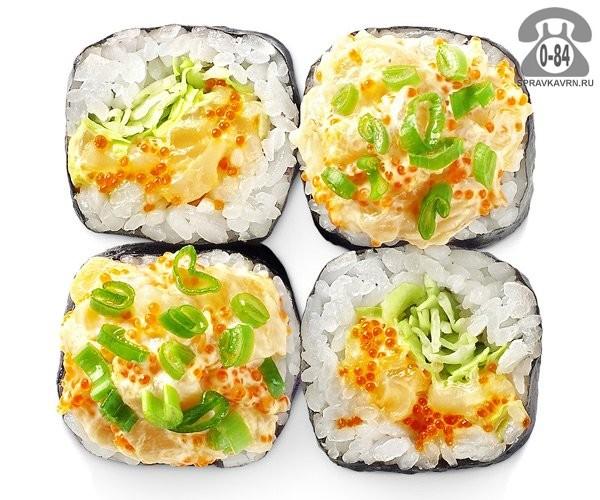 Роллы Каи хотатэ традиционные морской гребешок салат айсберг тобико соус унаги 4 шт. 105 г