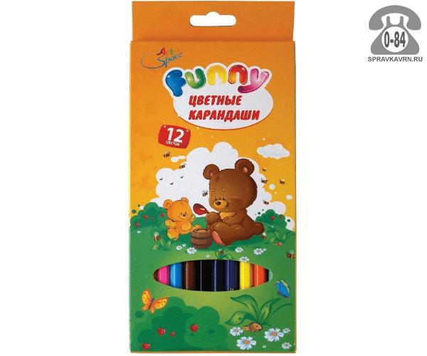 Цветные карандаши Зверята цветов 12 картонная коробка