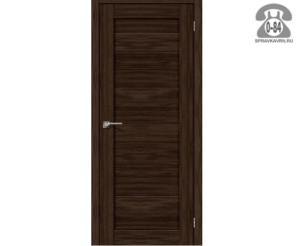 Межкомнатная деревянная дверь ЭльПорта, фабрика (el PORTA) Порта-21 глухая (без стекла) 60 см Венге Вералинга (Wenge Veralinga)