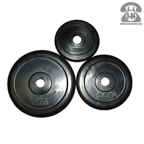 Диск для штанги Барбел (Barbell) Олимпийский обрезиненный без хвата 15 кг черный