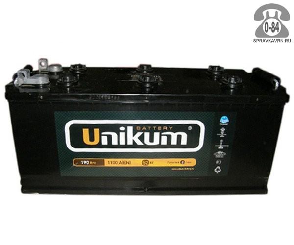 Аккумулятор для транспортного средства Уникум (Unikum) 6СТ-190 АПЗ (болт) полярность прямая, 518*240*242мм