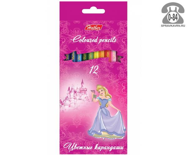 Цветные карандаши Принцессы на розовом цветов 12 картонная коробка