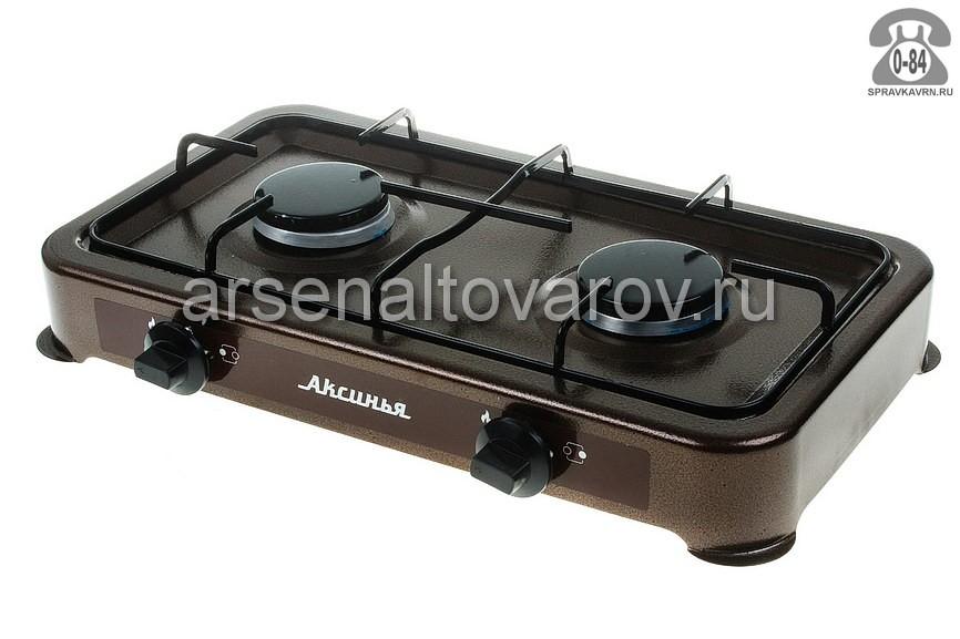 плита газовая настольная 2 конфорки Аксинья КС-102 коричневая (Россия)