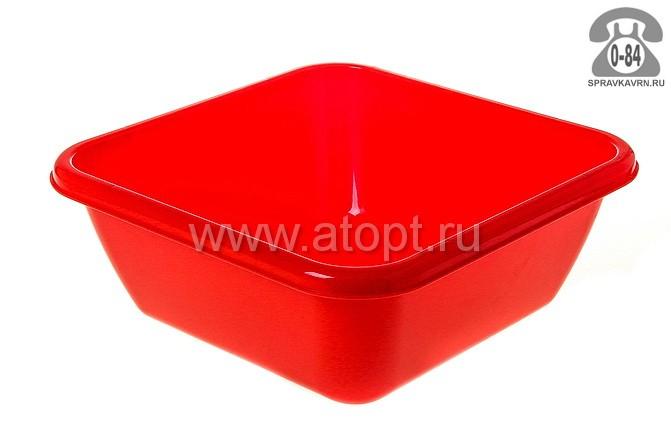 таз пластмассовый квадратный 8 л (М 2577) красный (Идея)