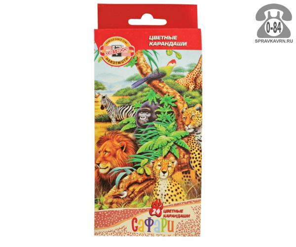 Цветные карандаши Сафари цветов 24 картонная коробка