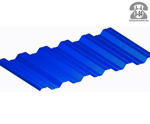 Профнастил НС35 сигнальный синий  1000x0.7 мм полимерное