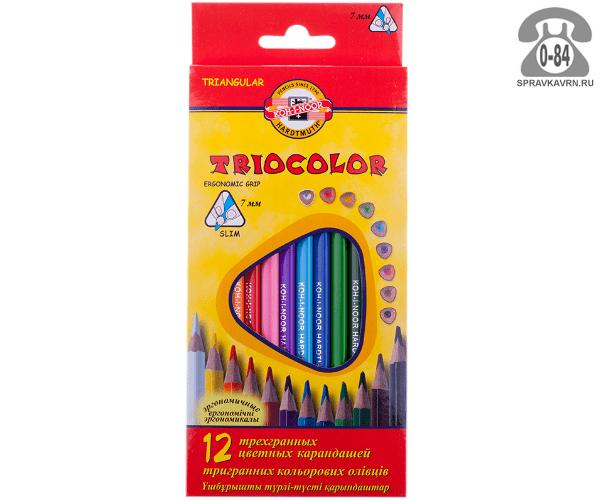Цветные карандаши Триоколор (Triocolor) цветов 12 картонная коробка
