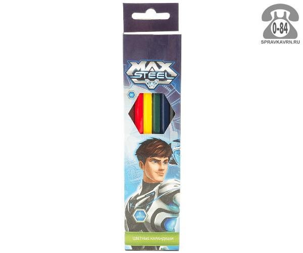 Карандаши цветные Max Steel 88 мм 6 цветов