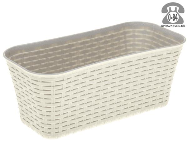 Балконный ящик Идея (Idea) Ротанг 60x57x16, белый