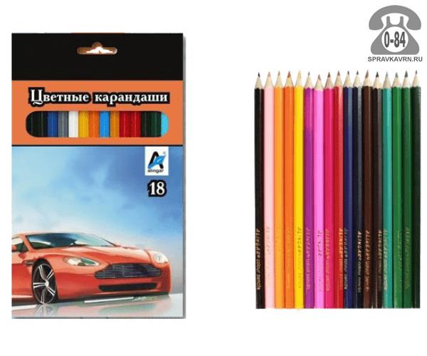 Цветные карандаши Машина цветов 18 картонная коробка