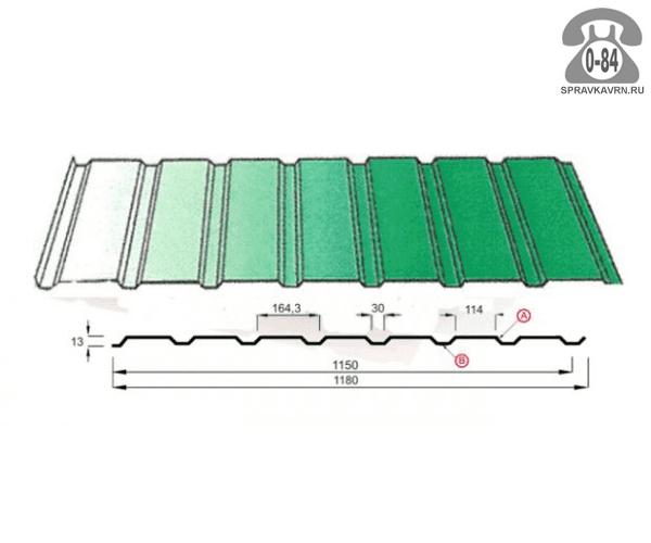 Профнастил С15 полимерное из оцинкованной стали 0.7 мм 1180 мм зелёный мох RAL 6005 Россия