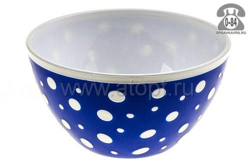 салатник пластмассовый 0,5 л Горошек (М2727) бело-синий (Башкирия)