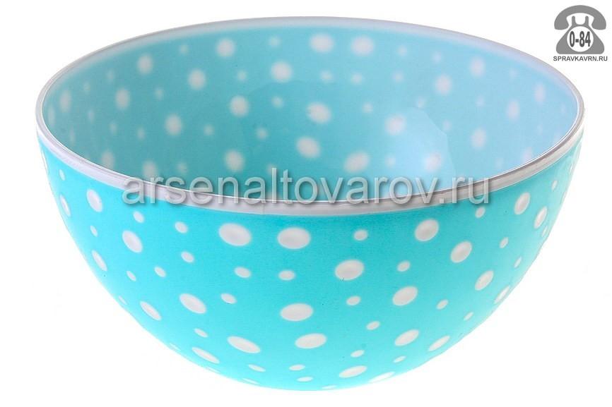 салатник пластмассовый 3 л Горошек (М7021) бело-голубой (Башкирия)