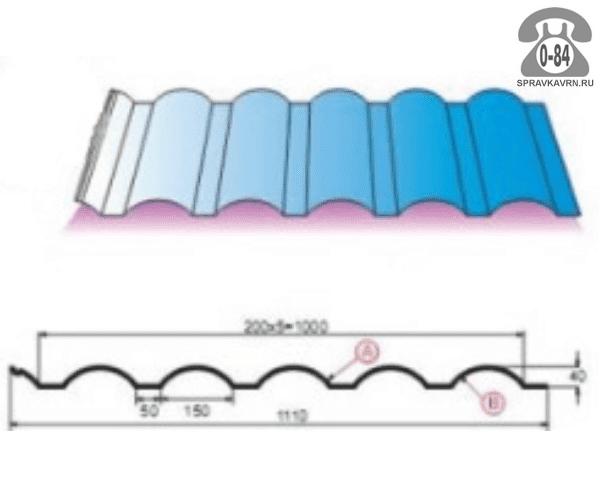 Профнастил МП40 полимерное из оцинкованной стали 0.4 мм 1110 мм сигнальный синий RAL 5005 Россия