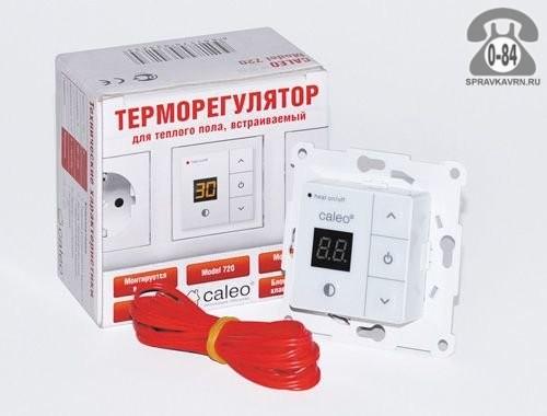 Терморегулятор для теплого пола Калео (Caleo) 720 с адаптерами непрограммируемый кнопочный белый выносной 2 м 0-+40 Корея, республика (Южная Корея)