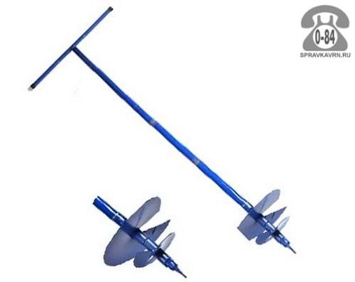 Бур почвенный 120 см шнековый 300 мм синий Россия