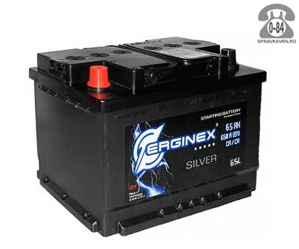 Аккумулятор для транспортного средства Эрджинекс (Erginex) 6СТ-65 обратная полярность 242*175*190 мм