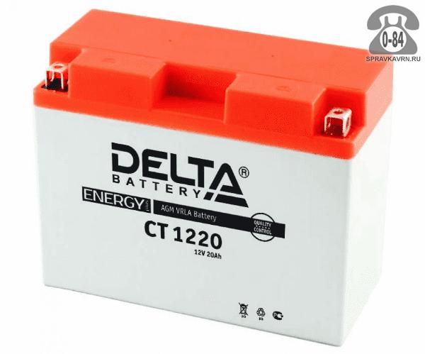 Аккумулятор для транспортного средства Дельта (Delta) CT 1220 AGM полярность обратная, 205*87*162мм