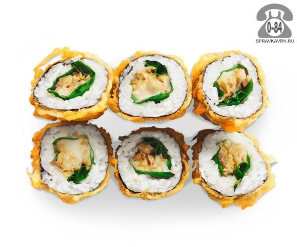 Роллы Кагувасэ ролл тёплые жареный лосось базилик мягкий сыр 6 шт. 170 г