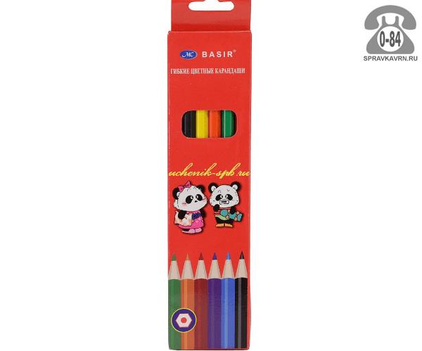 Цветные карандаши Панда цветов 6 картонная коробка