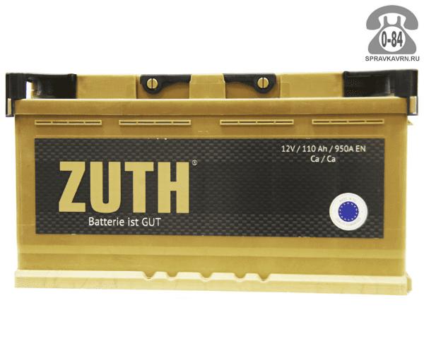 Аккумулятор для транспортного средства Зуф (Zuth) 6СТ-110 полярность обратная, 352*175*190мм