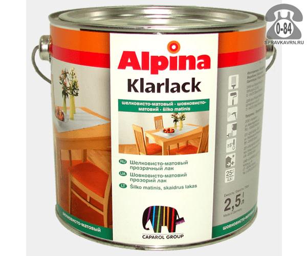 Лак Альпина (Alpina) Parkettlack шелковисто-матовый 2,5 л паркетный ведро