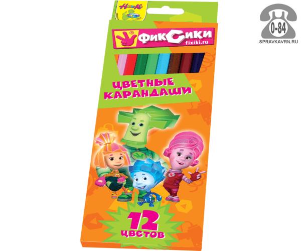Цветные карандаши Фиксики цветов 12 картонная коробка