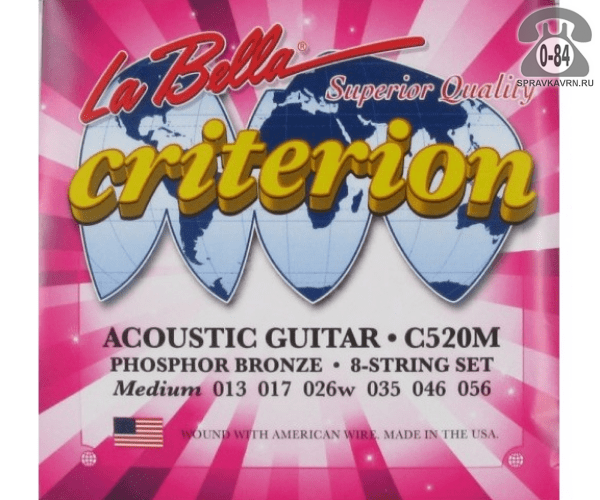 Струна для акустической гитары Ла Белла (La Bella) C520M натяжение: medium (среднее), сталь