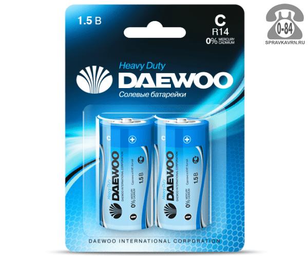 Батарейка Дэу (Daewoo) Heavy Duty C (R14, LR14, 343, Baby, UM2) 2 шт