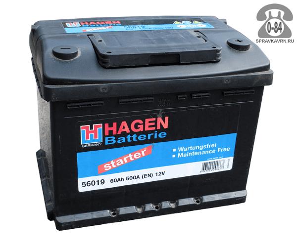 Аккумулятор для транспортного средства Хаген (Hagen) 6СТ-60 полярность прямая, 242*175*190мм