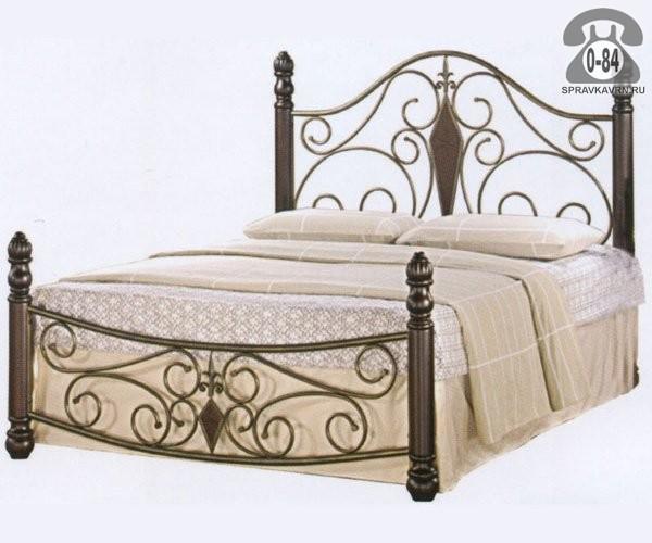 Кровать 2-спальная металл + гевея кованая 1-ярусная (одноярусная) 2000 мм 900 мм 1600 мм 1900 мм 1400 мм тёмный орех Малайзия