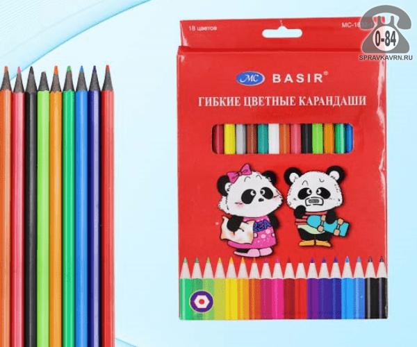 Цветные карандаши Панда цветов 18 картонная коробка