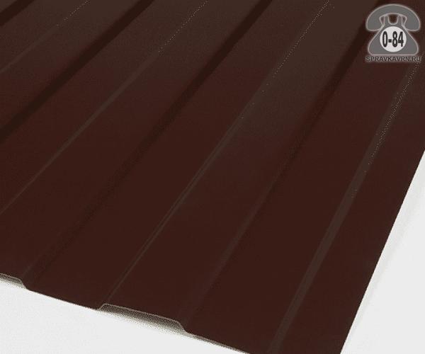 Профнастил С8 коричнево-красный  1200x0.4 мм полимерное