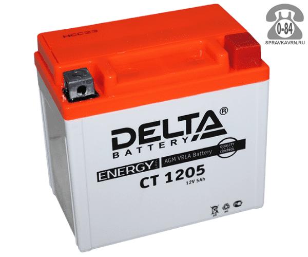 Аккумулятор для транспортного средства Дельта (Delta) СТ 1205 AGM обратная полярность 114*70*109 мм