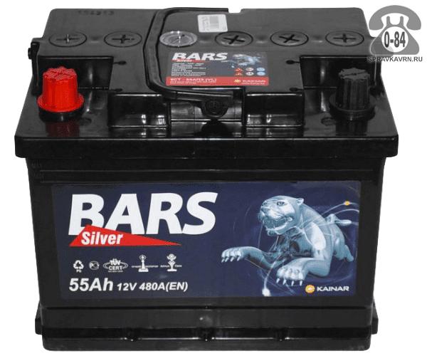 Аккумулятор для транспортного средства Барс (Bars) 6СТ-55 АПЗ обратная полярность 242*175*190 мм