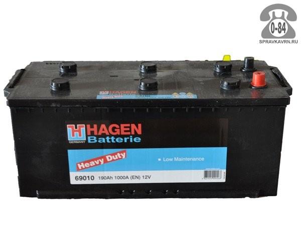 Аккумулятор для транспортного средства Хаген (Hagen) 6СТ-190 полярность обратная, 513*223*223мм