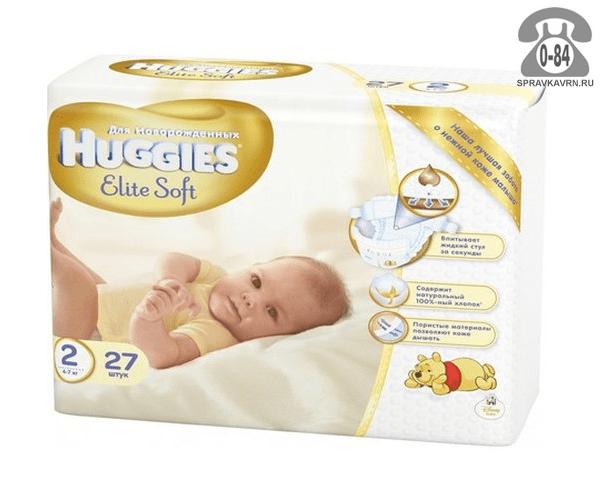 Подгузники для детей Хаггис (Huggies) Elite Soft NewBorn 4-7 кг (27) 4-7, 27шт.