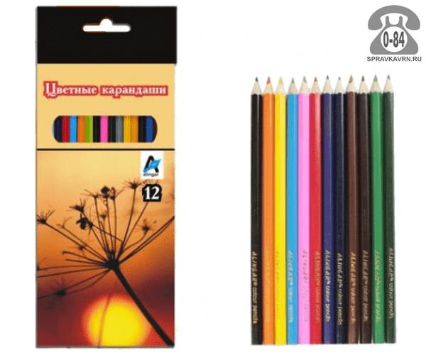 Цветные карандаши Природа цветов 12 картонная коробка