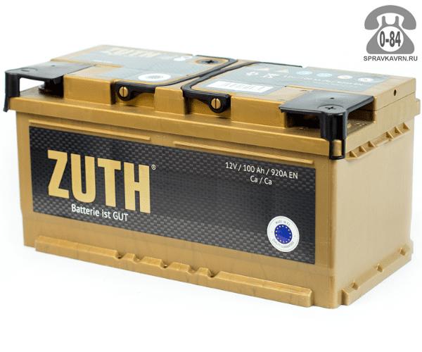 Аккумулятор для транспортного средства Зуф (Zuth) 6СТ-100 (низкий) обратная полярность 352*175*175 мм