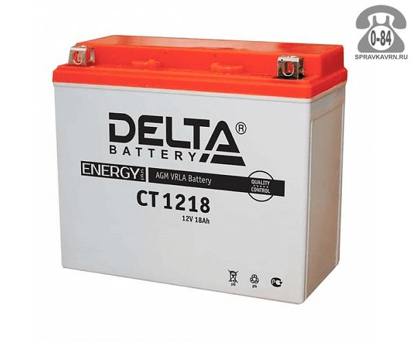 Аккумулятор для транспортного средства Дельта (Delta) СТ 1218 AGM полярность прямая, 175*87*155мм