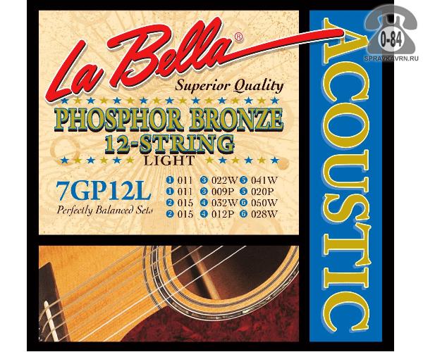 Струна для акустической гитары Ла Белла (La Bella) 700M натяжение: medium (среднее), сталь