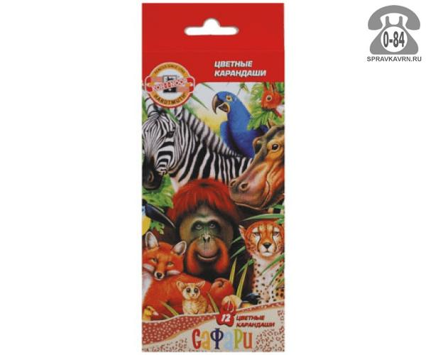 Карандаши цветные Кох-и-Нор Сафари 12 цветов картонная коробка