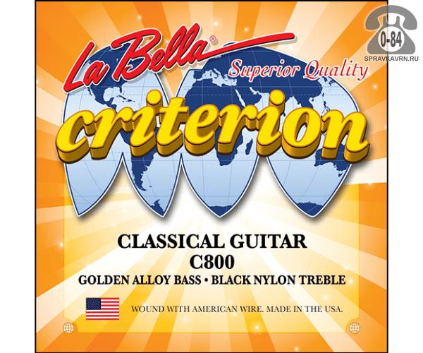 Струны для классической гитары Ла Белла (La Bella) C800 натяжение medium light (средне-лёгкое)
