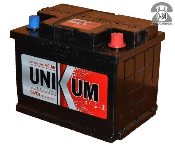 Аккумулятор для транспортного средства Уникум (Unikum) 6СТ-60 АПЗ полярность обратная, 242*175*190мм