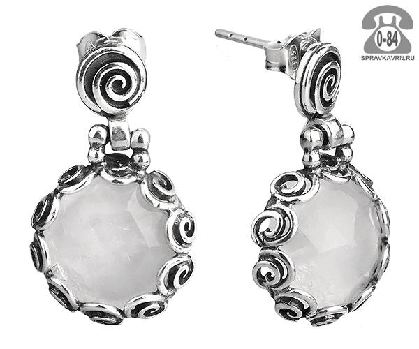 Серьги серебро лунный камень